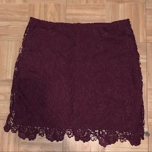 H&M Burgandy Lace Skirt